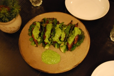 Sauced sunchoke tacos